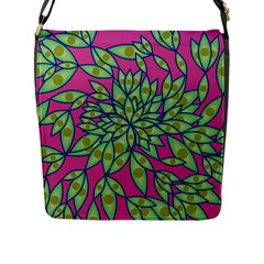 Big Growth Abstract Floral Texture Flap Messenger Bag (l)  by Simbadda