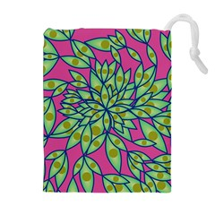 Big Growth Abstract Floral Texture Drawstring Pouches (extra Large) by Simbadda