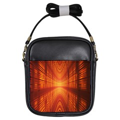 Abstract Wallpaper With Glowing Light Girls Sling Bags by Simbadda