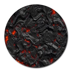 Volcanic Lava Background Effect Round Mousepads by Simbadda