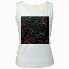 Volcanic Lava Background Effect Women s White Tank Top by Simbadda