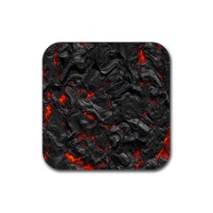 Volcanic Lava Background Effect Rubber Square Coaster (4 Pack)  by Simbadda