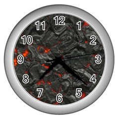 Volcanic Lava Background Effect Wall Clocks (silver)