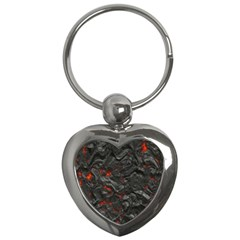 Volcanic Lava Background Effect Key Chains (heart)  by Simbadda