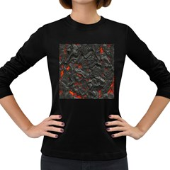 Volcanic Lava Background Effect Women s Long Sleeve Dark T Shirts by Simbadda