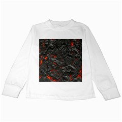 Volcanic Lava Background Effect Kids Long Sleeve T Shirts by Simbadda