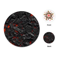 Volcanic Lava Background Effect Playing Cards (round)  by Simbadda