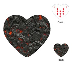 Volcanic Lava Background Effect Playing Cards (heart)  by Simbadda