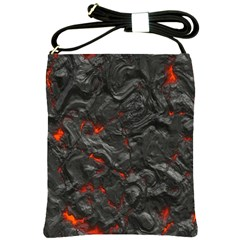Volcanic Lava Background Effect Shoulder Sling Bags by Simbadda