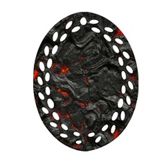 Volcanic Lava Background Effect Ornament (oval Filigree) by Simbadda