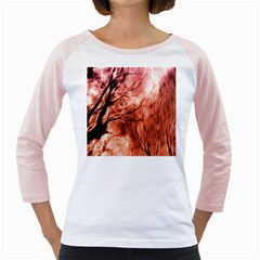 Fire In The Forest Artistic Reproduction Of A Forest Photo Girly Raglans