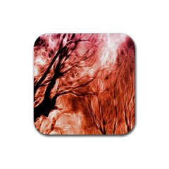 Fire In The Forest Artistic Reproduction Of A Forest Photo Rubber Square Coaster (4 Pack)