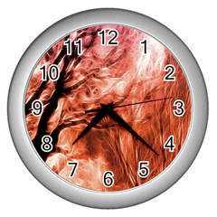 Fire In The Forest Artistic Reproduction Of A Forest Photo Wall Clocks (silver)