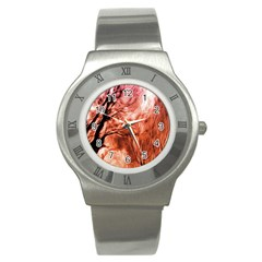 Fire In The Forest Artistic Reproduction Of A Forest Photo Stainless Steel Watch by Simbadda