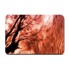 Fire In The Forest Artistic Reproduction Of A Forest Photo Small Doormat  by Simbadda