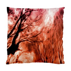 Fire In The Forest Artistic Reproduction Of A Forest Photo Standard Cushion Case (one Side) by Simbadda