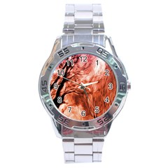Fire In The Forest Artistic Reproduction Of A Forest Photo Stainless Steel Analogue Watch by Simbadda