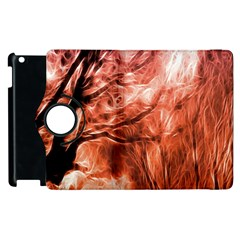 Fire In The Forest Artistic Reproduction Of A Forest Photo Apple Ipad 2 Flip 360 Case by Simbadda