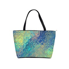 Colorful Patterned Glass Texture Background Shoulder Handbags by Simbadda