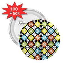 Diamond Argyle Pattern Colorful Diamonds On Argyle Style 2 25  Buttons (100 Pack)  by Simbadda