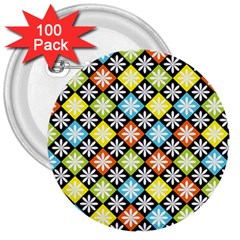 Diamond Argyle Pattern Colorful Diamonds On Argyle Style 3  Buttons (100 Pack)  by Simbadda