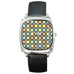 Diamond Argyle Pattern Colorful Diamonds On Argyle Style Square Metal Watch