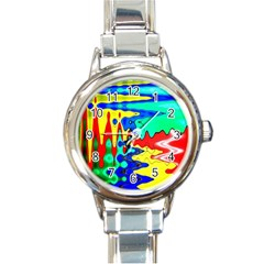 Bright Colours Abstract Round Italian Charm Watch by Simbadda