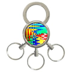 Bright Colours Abstract 3 Ring Key Chains