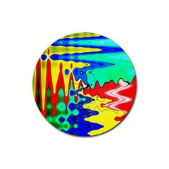 Bright Colours Abstract Rubber Coaster (round)  by Simbadda