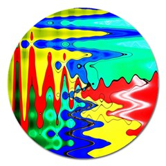 Bright Colours Abstract Magnet 5  (round)