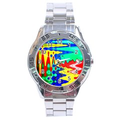Bright Colours Abstract Stainless Steel Analogue Watch