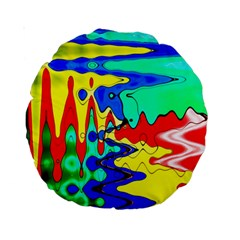 Bright Colours Abstract Standard 15  Premium Round Cushions by Simbadda