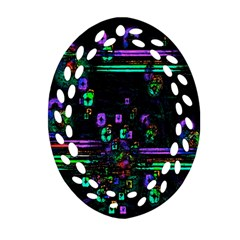 Digital Painting Colorful Colors Light Oval Filigree Ornament (two Sides) by Simbadda