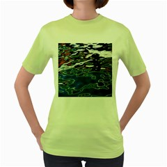 Colorful Reflections In Water Women s Green T Shirt