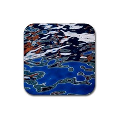 Colorful Reflections In Water Rubber Square Coaster (4 Pack)