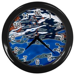 Colorful Reflections In Water Wall Clocks (black) by Simbadda