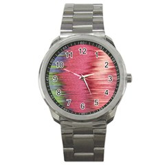 Rectangle Abstract Background In Pink Hues Sport Metal Watch by Simbadda