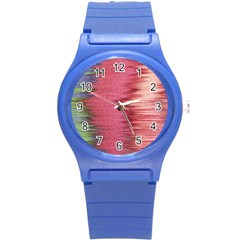 Rectangle Abstract Background In Pink Hues Round Plastic Sport Watch (s) by Simbadda