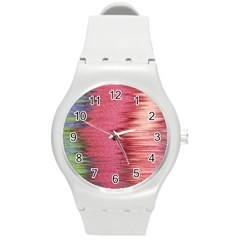 Rectangle Abstract Background In Pink Hues Round Plastic Sport Watch (m) by Simbadda