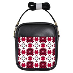 Seamless Abstract Pattern With Red Elements Background Girls Sling Bags