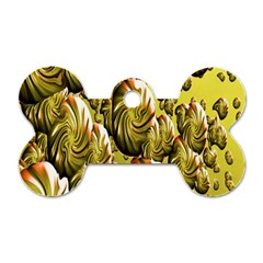 Melting Gold Drops Brighten Version Abstract Pattern Revised Edition Dog Tag Bone (two Sides)