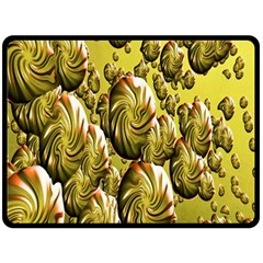 Melting Gold Drops Brighten Version Abstract Pattern Revised Edition Fleece Blanket (large)  by Simbadda