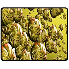 Melting Gold Drops Brighten Version Abstract Pattern Revised Edition Fleece Blanket (medium)  by Simbadda
