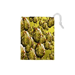 Melting Gold Drops Brighten Version Abstract Pattern Revised Edition Drawstring Pouches (small)  by Simbadda