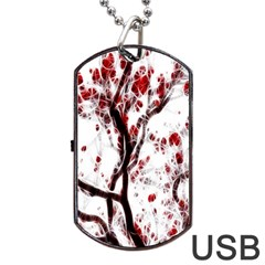 Tree Art Artistic Abstract Background Dog Tag Usb Flash (one Side) by Simbadda