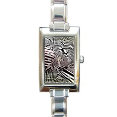 Abstract Fauna Pattern When Zebra And Giraffe Melt Together Rectangle Italian Charm Watch by Simbadda