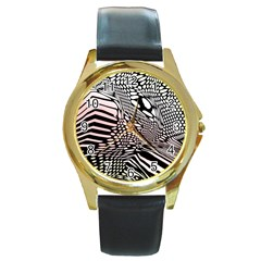 Abstract Fauna Pattern When Zebra And Giraffe Melt Together Round Gold Metal Watch by Simbadda
