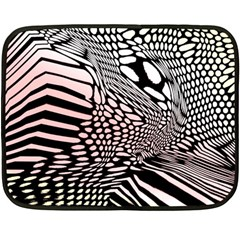 Abstract Fauna Pattern When Zebra And Giraffe Melt Together Double Sided Fleece Blanket (mini)