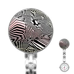 Abstract Fauna Pattern When Zebra And Giraffe Melt Together Stainless Steel Nurses Watch by Simbadda