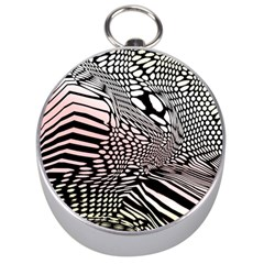 Abstract Fauna Pattern When Zebra And Giraffe Melt Together Silver Compasses by Simbadda